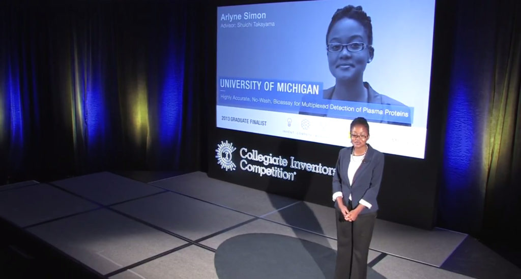 Photo of Arlyne Simon presenting at the Collegiate Inventor Competition